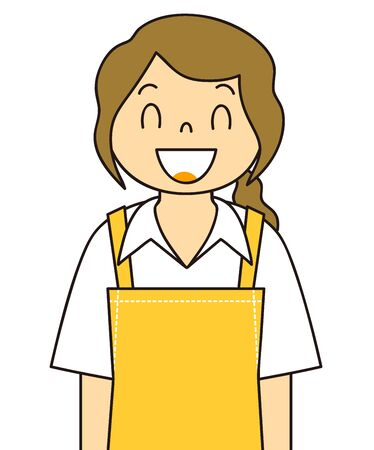 Illustration of the gesture of a woman wearing an apron Smile