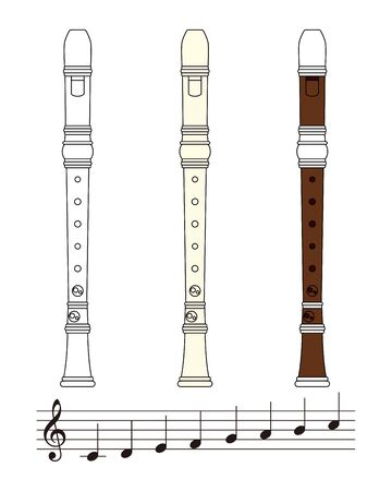 Recorder and Note Set Vector Illustration Banque d'images - 135008967