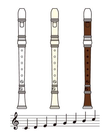 Recorder and Note Set Vector Illustration Banque d'images - 135008969