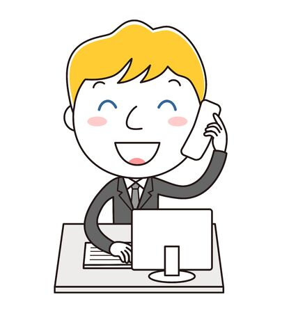Man illustration clip art in the office that is answering the telephone Stock Photo