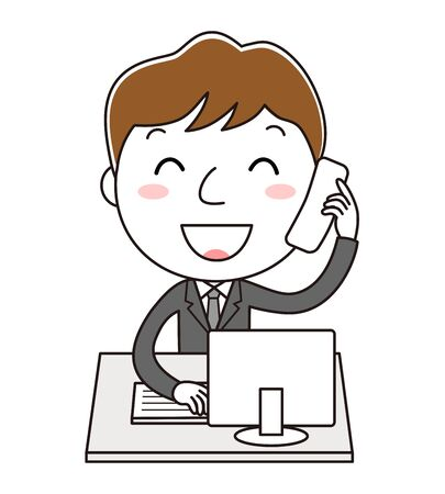 Man illustration clip art in the office that is answering the telephone Фото со стока