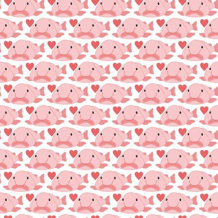 Blobfish Nuudodazika Muster Hintergrundmaterial Vektorbild