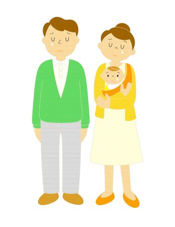 Young Couple And Baby Cry Illustration Clip Art 版權商用圖片