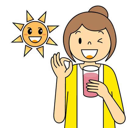 Illustration of a young woman drinking smoothies Clip Art Cartoon