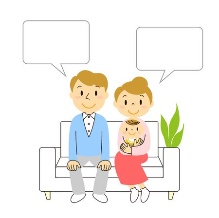 Young couple and baby sitting on the sofa illustration