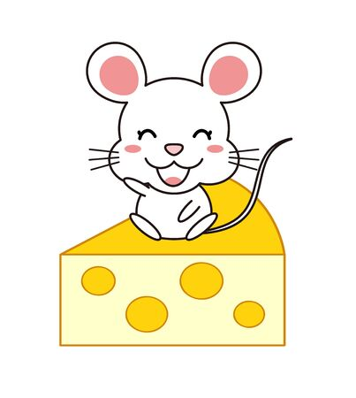 Mouse and Cheese Illustration Clip Art