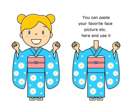 Kimono woman   cosplay able to face-free material with extra illustration cartoons you can use by pasting your favorite face photo, etc.