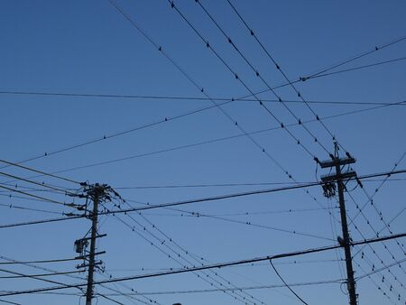 Telegraph Poles and Blue Sky