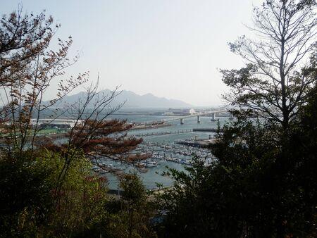 View from Hiroshima Ebiyama Park Observatory Ikkaichi Port Iskaichi Bridge Stok Fotoğraf