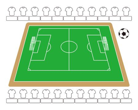 Soccer Field and Soccer Ball Vector Illustration