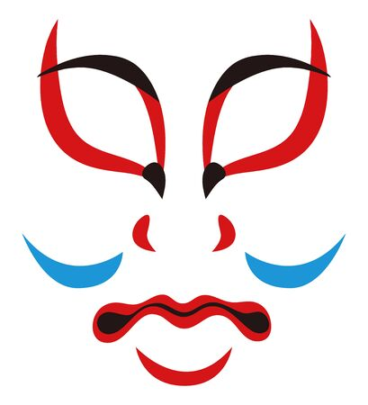 Japanese Traditional Performing Arts Kabuki Face Makeup Kumatori Face Illustration Vector