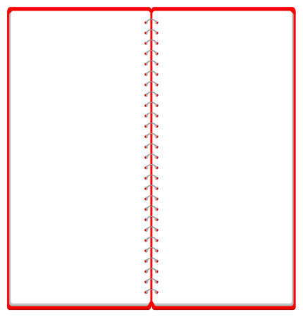 Sketchbook Ring Note Frame Illustration ※A4 Trifold Size 2 Pages Vector