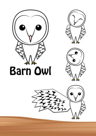 Owl Fashionable Men Owl Illustration Set (Postcard) Vector