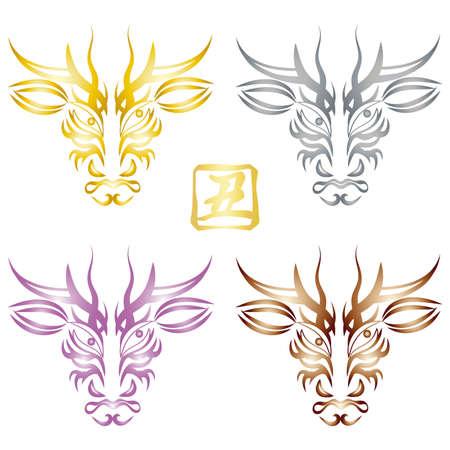 Stamp-style illustration set: Kabuki makeup-like cow face design (Kaoru Tsujiri's kanji vector Stamp-style illustration set: Kabuki makeup-like cow face design (Kumadori) Cow kanji vector