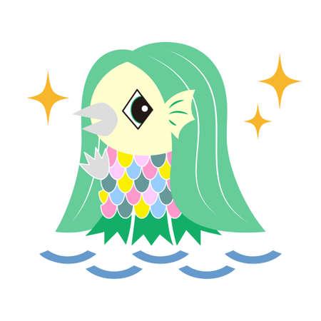 Amavier Japanese Youkai Character Illustration Vector Japan youkai Amabier character icon illustration Illusztráció