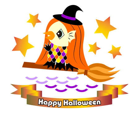 Halloween Material Amabier wearing a witch's costume (Japanese youkai) Illustration Vector Halloween Material Amabie Dressed as a Switch. Japan youkai Amabier character icon illustration