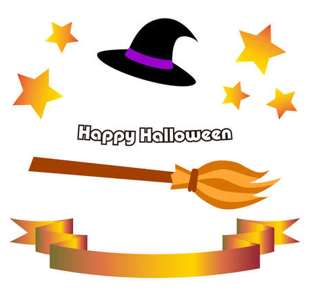 Halloween Material Witch Hat Magic Nod Ribbon Star Illustration Vector  イラスト・ベクター素材