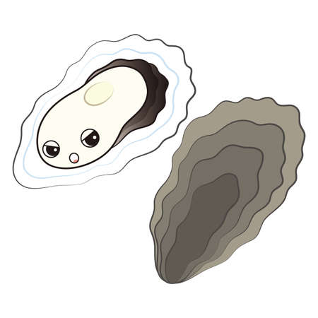 A cute oyster character with a grumpy face, a set of slime and seashells Illustrated Vector