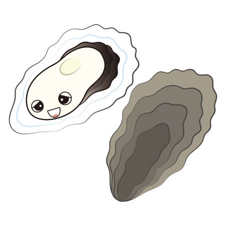 The character of the oyster with a cute face in need, a set of slime and seashells Illustrated Vector Illusztráció
