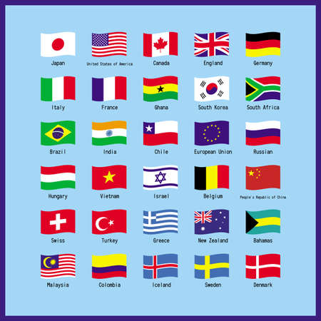 Set of world flags Illustration Vector by World Major Flag Set List Illustration Vector