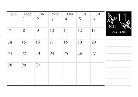 Butterfly Bald Swan Simple Monochrome Calendar November 2021 Vector Ilustração Vetorial