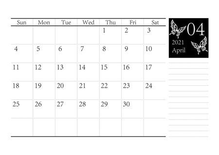 Butterfly Bald Swan Simple Monochrome Calendar April 2021 Vector Ilustração Vetorial