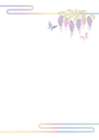 Butterfly Bald And Wisteria Flower Cutout Style Design Background Material Illustration Vector