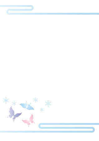 butterfly and snow crystal illustration cut-out design cold visit background material vector