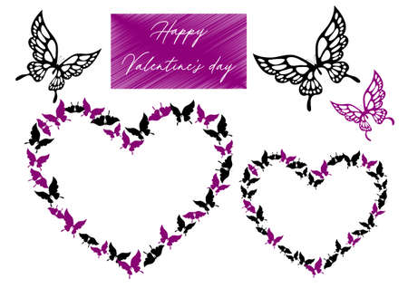 Valentine's Day Material Illustration Set with Butterfly Design Beard Grouse Vector lined in Heart Shape