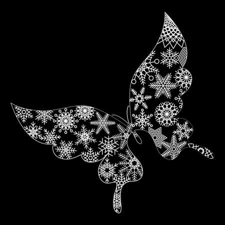 Christmas Material Butterfly and Snow Crystal Design Beard Grouse Ornament Illustration Vector Christmas Material Swallowtail and Snowflake Design Swallowtail Ornament Illustration Vector
