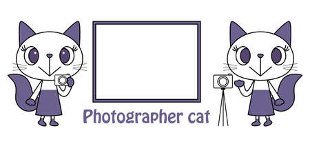 Photographer's Cute Cat Character Illustration Vector Photographer's cute cat character illustration vector