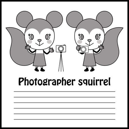 Photographer's Cute Squirrel Character Illustration Vector Photographer's cute squirrel character illustration vector Ilustração