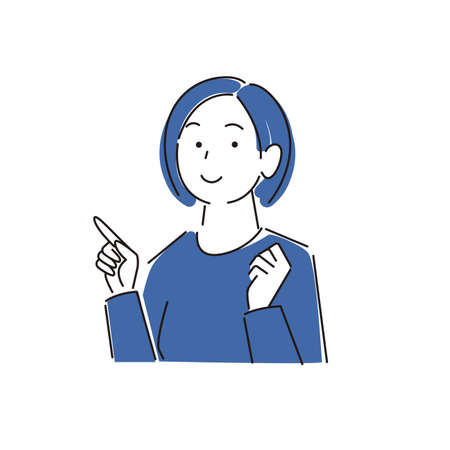 Pointing Smiling Woman ModerateLy Simple Illustration Vector Pointing smile woman Moderately simple illustration vector Vector Illustratie