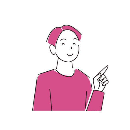 Pointing Smiling Man ModerateLy Simple Illustration Vector Pointing smile man Moderately simple illustration vector