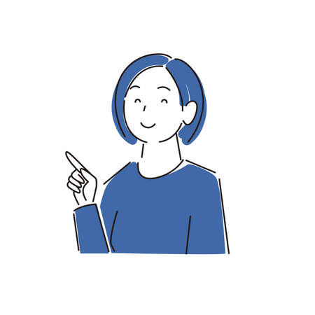 Pointing Smiling Woman ModerateLy Simple Illustration Vector Pointing smile woman Moderately simple illustration vector