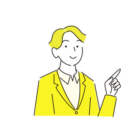 Pointing Smiling Man Suit Moderately Simple Illustration Vector Pointing smile man Suit Moderately simple illustration vector