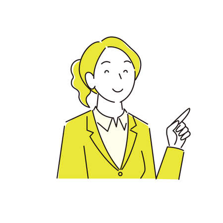 Pointing Smiling Woman Suit Moderately Simple Illustration Vector Pointing Smile Woman Suit Moderately simple illustration vector