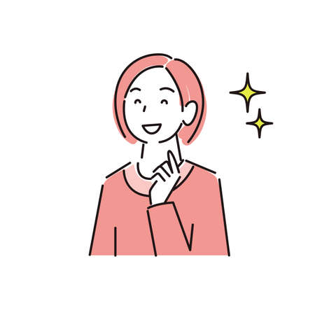 Smiling Woman Moderate Simple Illustration Vector Cute smiling woman simple illustration vector