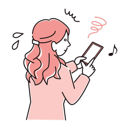 A woman in a suit who is in trouble because she is using a smart phone too much and becomes strabismus in a smartphone Moderately simple illustration vector A woman in a suit who is having trouble with esotropea on her smartphone because she uses too much of her smartphone. Simple illustration. vector.