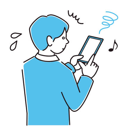 A man in a suit who is in trouble because he uses a smart phone too much and becomes a strabismus in a smartphone Moderately simple illustration vector A man in a suit who is having trouble with esotropea on her smartphone because she uses too much of his smartphone. Simple illustration. vector.