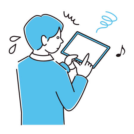 A man in a suit in a suit who is in trouble for becoming strabismus in a smartphone using too much tablet Moderately simple illustration vector A man in a suit who is having trouble with esotropea on her smartphone because she uses too much of his tablet. Simple illustration. vector.