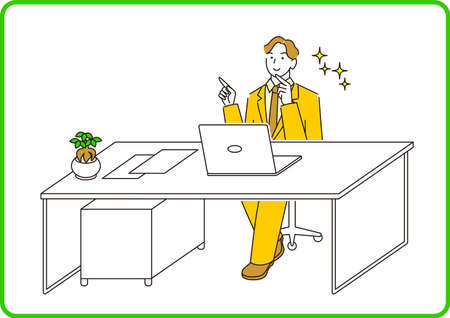 A man in a suit in a suit sitting in front of a computer and having a conversation online Moderately simple illustration vector A man in a suit sitting in front of a computer and having a conversation online. Smile. A reasonably simple illustration. vector. Vector Illustratie