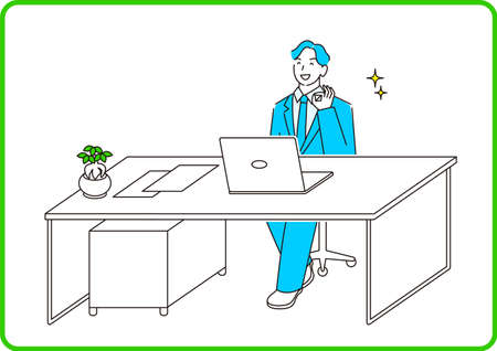 A man in a suit in a suit sitting in front of a computer and having a conversation online Moderately simple illustration vector A man in a suit sitting in front of a computer and having a conversation online.