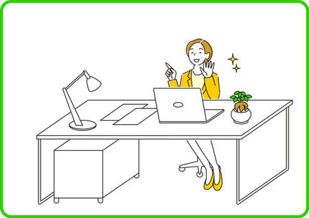 A woman in a suit sitting in front of a computer and having a conversation online Moderately simple illustration Vector by A woman in a suit sitting in front of a computer and having a conversation online.