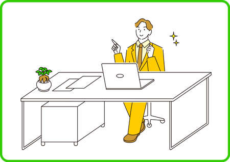 A man in a suit in a suit sitting in front of a computer and having a conversation online Moderately simple illustration vector A man in a suit sitting in front of a computer and having a conversation online. Smile. A reasonably simple illustration. vector.