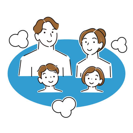 Family of 4 bathing moderately simple illustration vector family of 4 taking a bath. Moderately simple illustration. vector.