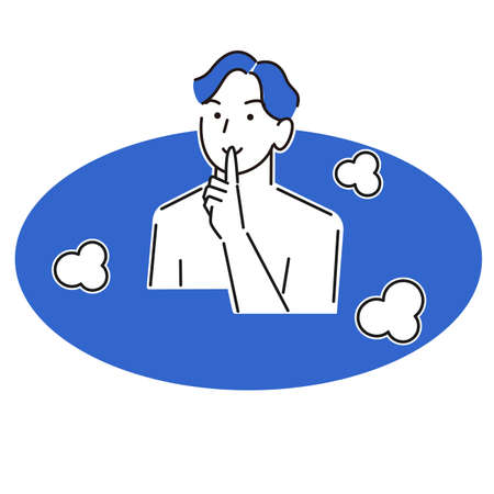 Young man bathing quietly moderately simple illustration vector Young man bathing quietly Moderately simple illustration. vector.  イラスト・ベクター素材