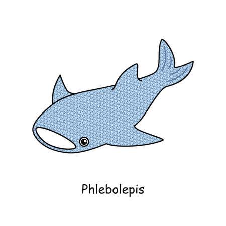 Ancient fish Frebolepis Phlebolepis Whale shark-like appearance fish without fish illustration vector by Ancient fish Phlebolepis. A jawless fish that looks like a whale shark. Illustration. vector.  イラスト・ベクター素材
