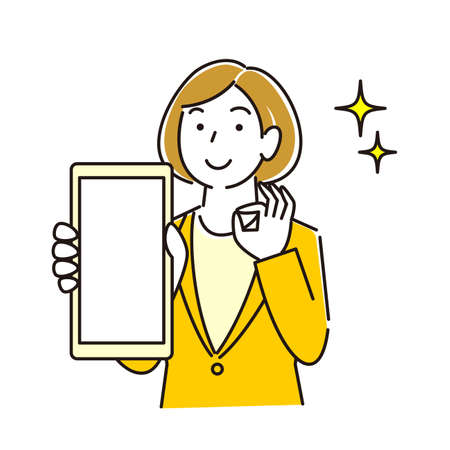 Woman in suit showing smartphone screen Smiling moderately simple illustration vector A woman in a suit showing the screen of her smartphone.  イラスト・ベクター素材