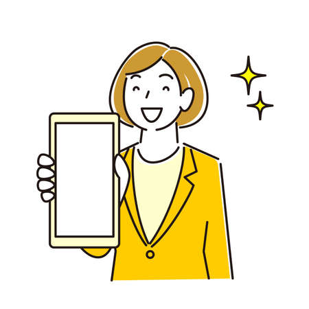 Woman in suit showing smartphone screen Smiling moderately simple illustration vector A woman in a suit showing the screen of her smartphone. Smile. A simple illustration. vector.
